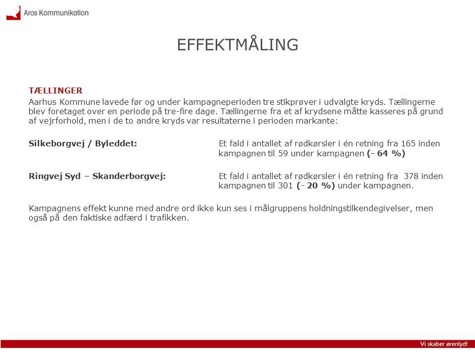 EFFEKTMÅLING TÆLLINGER Aarhus Kommune lavede før og under kampagneperioden tre stikprøver i udvalgte kryds.