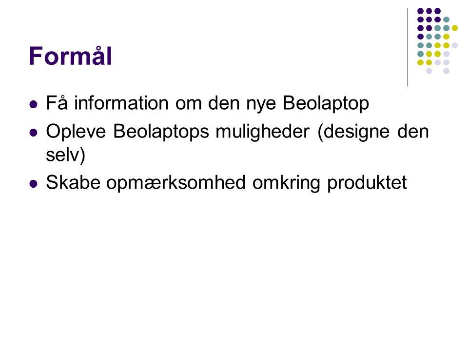 Formål Få information om den nye Beolaptop Opleve Beolaptops muligheder (designe den selv) Skabe opmærksomhed omkring produktet