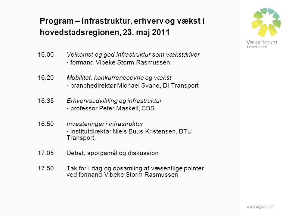 www.regionh.dk Program – infrastruktur, erhverv og vækst i hovedstadsregionen, 23.