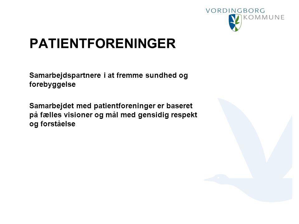 Punktopstilling Marker den ønskede tekst og vælg Forøg indrykning: For at fjerne punktmarkering vælg Formindsk indrykning: PATIENTFORENINGER Samarbejdspartnere i at fremme sundhed og forebyggelse Samarbejdet med patientforeninger er baseret på fælles visioner og mål med gensidig respekt og forståelse