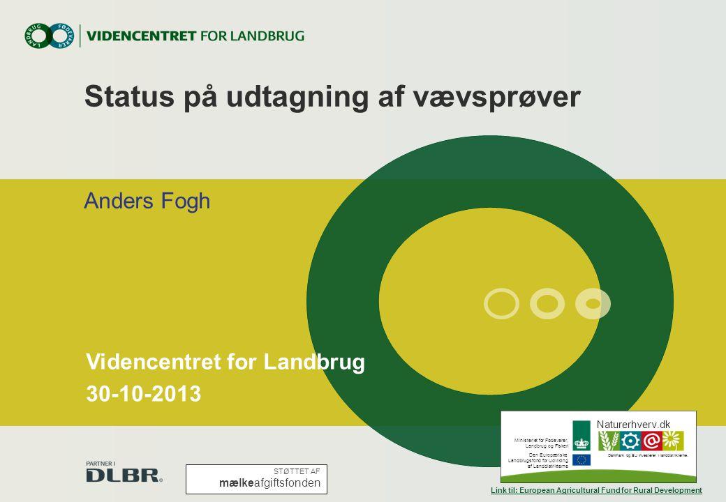 Status på udtagning af vævsprøver Anders Fogh Naturerhverv.dk Ministeriet for Fødevarer, Landbrug og Fiskeri Den Europæriske Landbrugsfond for Udvikling af Landdistrikterne Danmark og EU investerer i landdistrikterne.