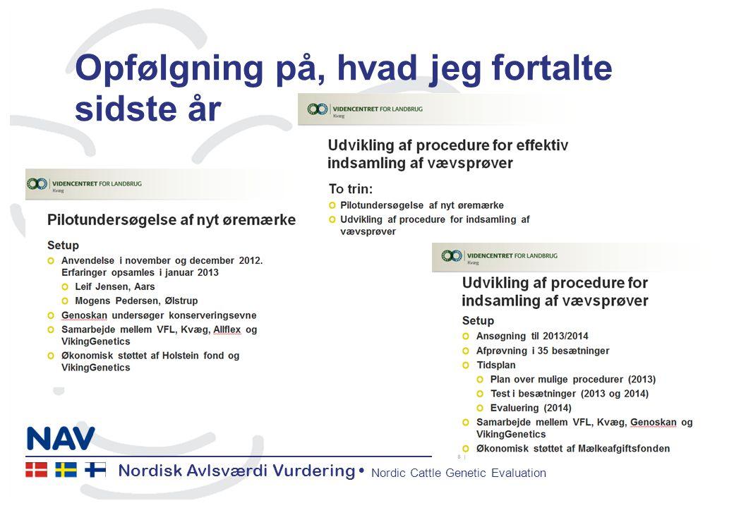 Nordisk Avlsværdi Vurdering Nordic Cattle Genetic Evaluation Opfølgning på, hvad jeg fortalte sidste år