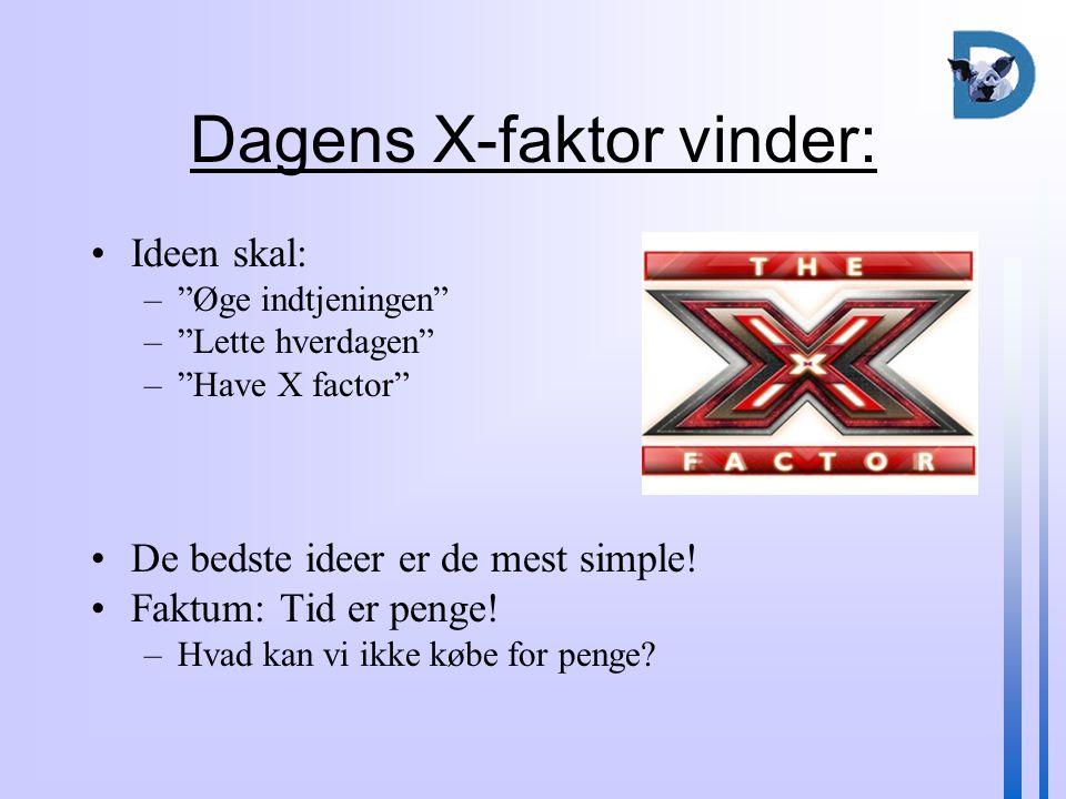 Dagens X-faktor vinder: Ideen skal: – Øge indtjeningen – Lette hverdagen – Have X factor De bedste ideer er de mest simple.