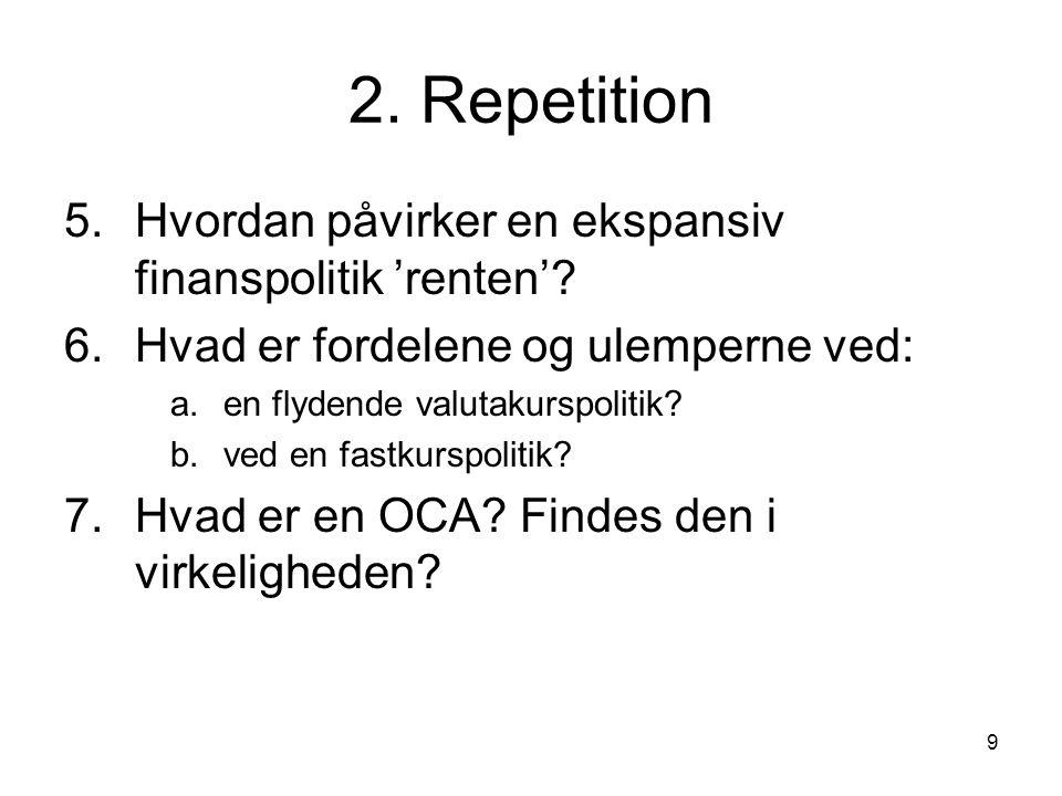 9 2. Repetition 5.Hvordan påvirker en ekspansiv finanspolitik 'renten'.