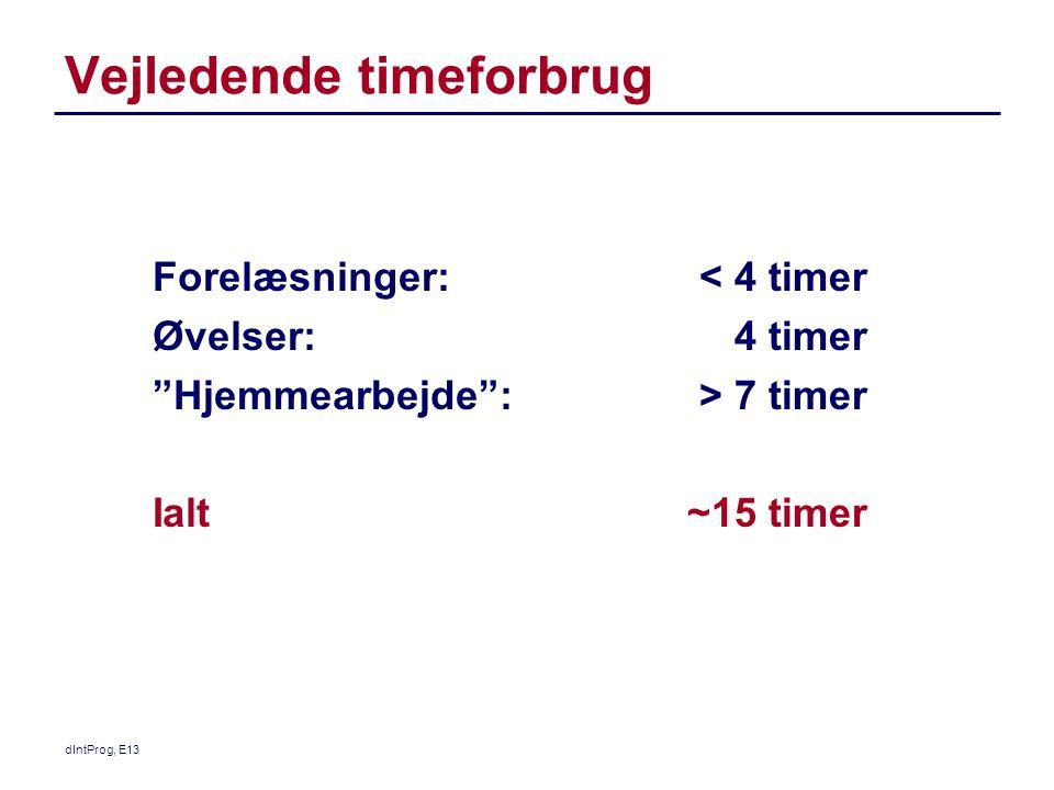 Vejledende timeforbrug Forelæsninger: Øvelser: Hjemmearbejde : Ialt < 4 timer 4 timer > 7 timer ~15 timer dIntProg, E13