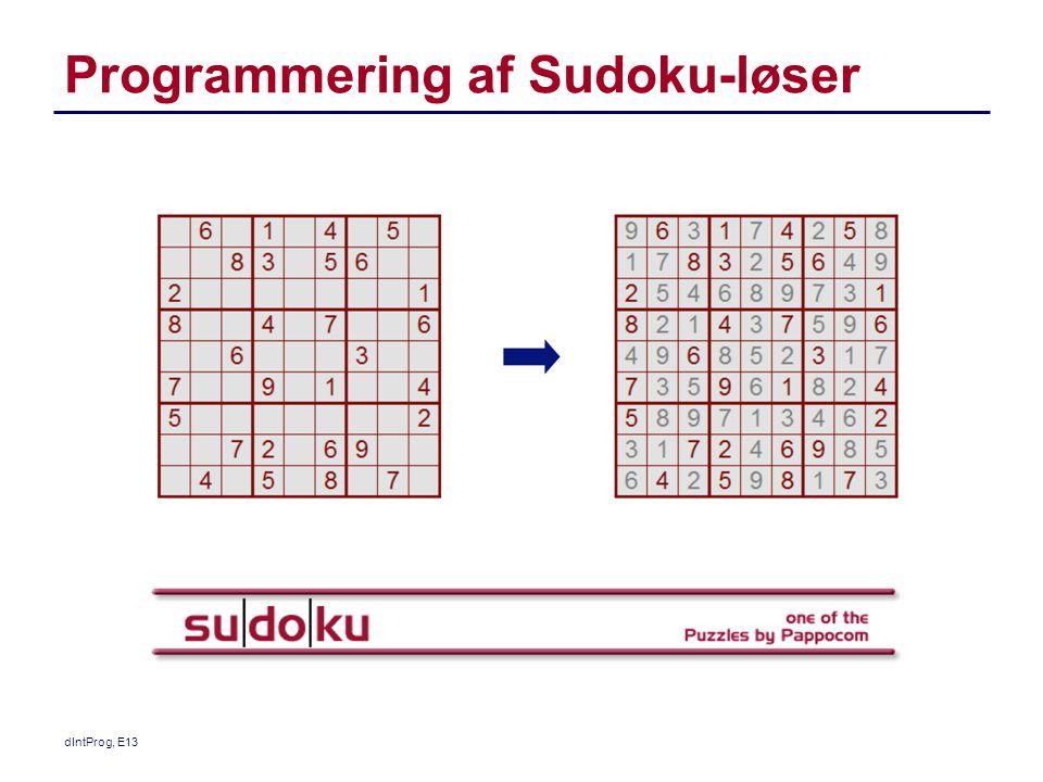 Programmering af Sudoku-løser dIntProg, E13