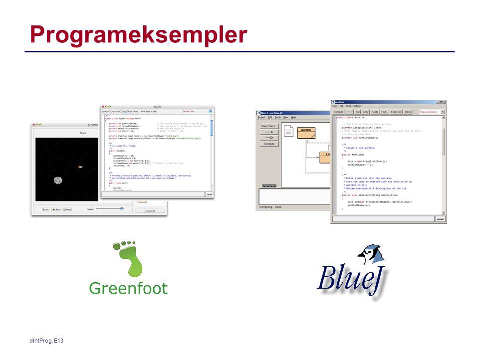 Programeksempler dIntProg, E13 Greenfoot