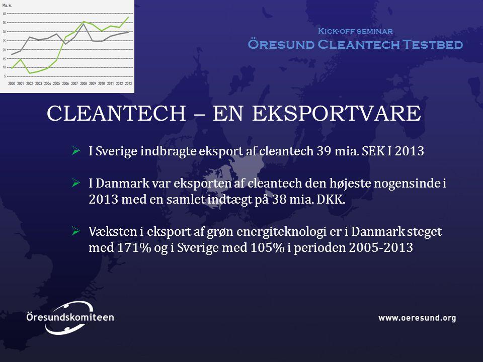 Kick-off seminar Öresund Cleantech Testbed CLEANTECH – EN EKSPORTVARE  I Sverige indbragte eksport af cleantech 39 mia.