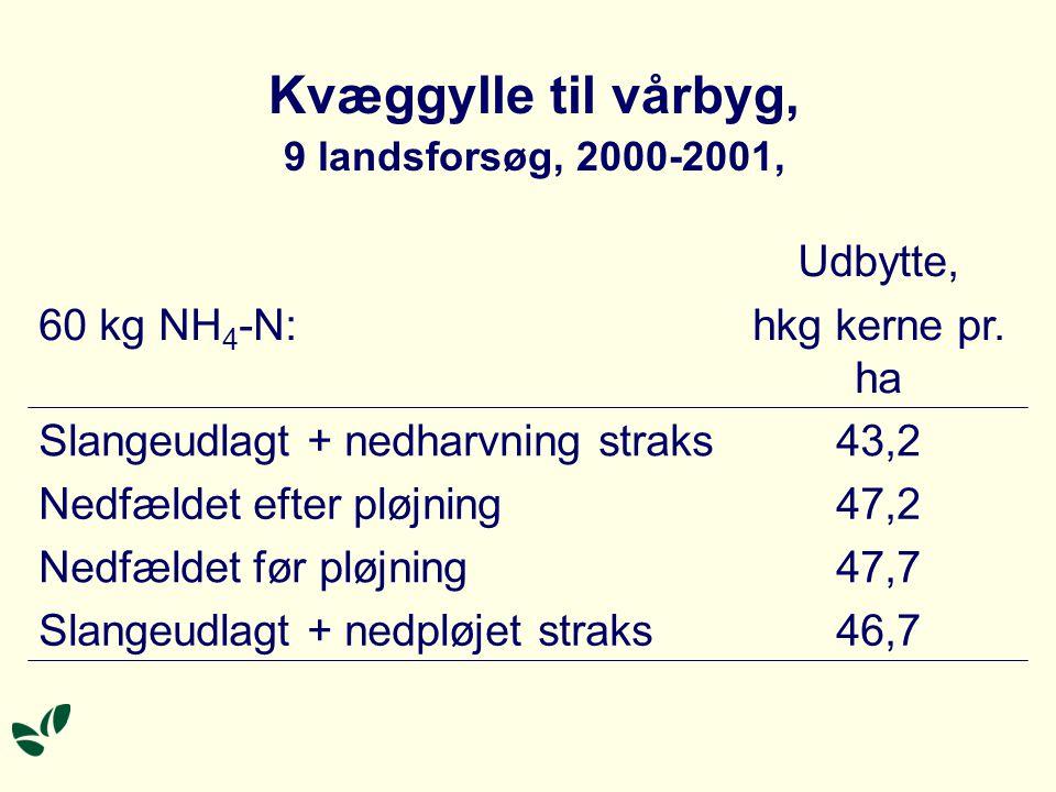 Kvæggylle til vårbyg, 9 landsforsøg, 2000-2001, 47,7Nedfældet før pløjning 47,2Nedfældet efter pløjning 46,7Slangeudlagt + nedpløjet straks Udbytte, hkg kerne pr.