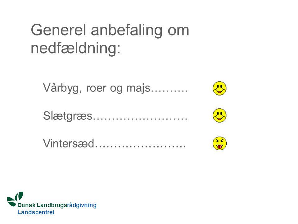 Dansk Landbrugsrådgivning Landscentret Generel anbefaling om nedfældning: Vårbyg, roer og majs……….