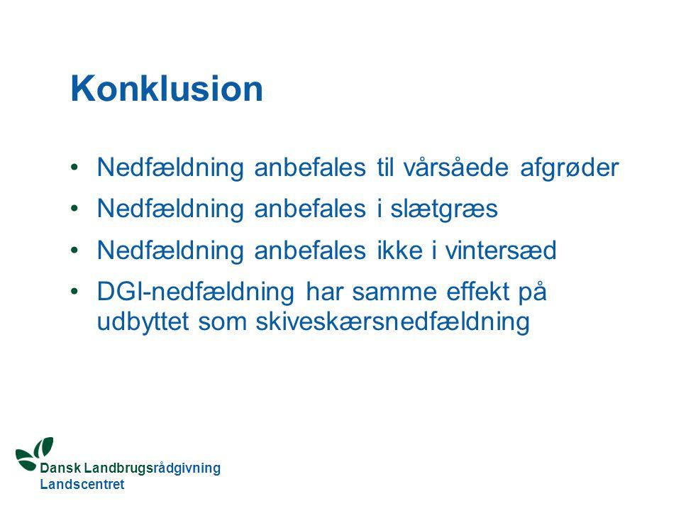 Dansk Landbrugsrådgivning Landscentret Konklusion Nedfældning anbefales til vårsåede afgrøder Nedfældning anbefales i slætgræs Nedfældning anbefales ikke i vintersæd DGI-nedfældning har samme effekt på udbyttet som skiveskærsnedfældning