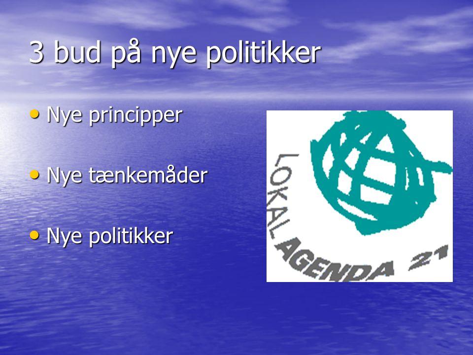 3 bud på nye politikker Nye principper Nye principper Nye tænkemåder Nye tænkemåder Nye politikker Nye politikker