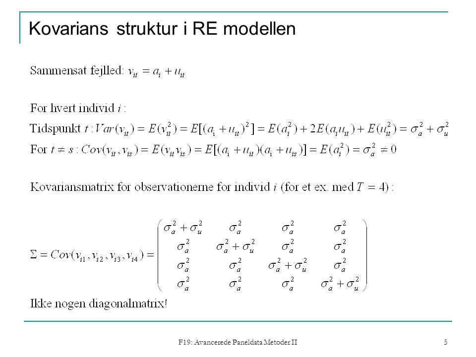 F19: Avancerede Paneldata Metoder II 5 Kovarians struktur i RE modellen