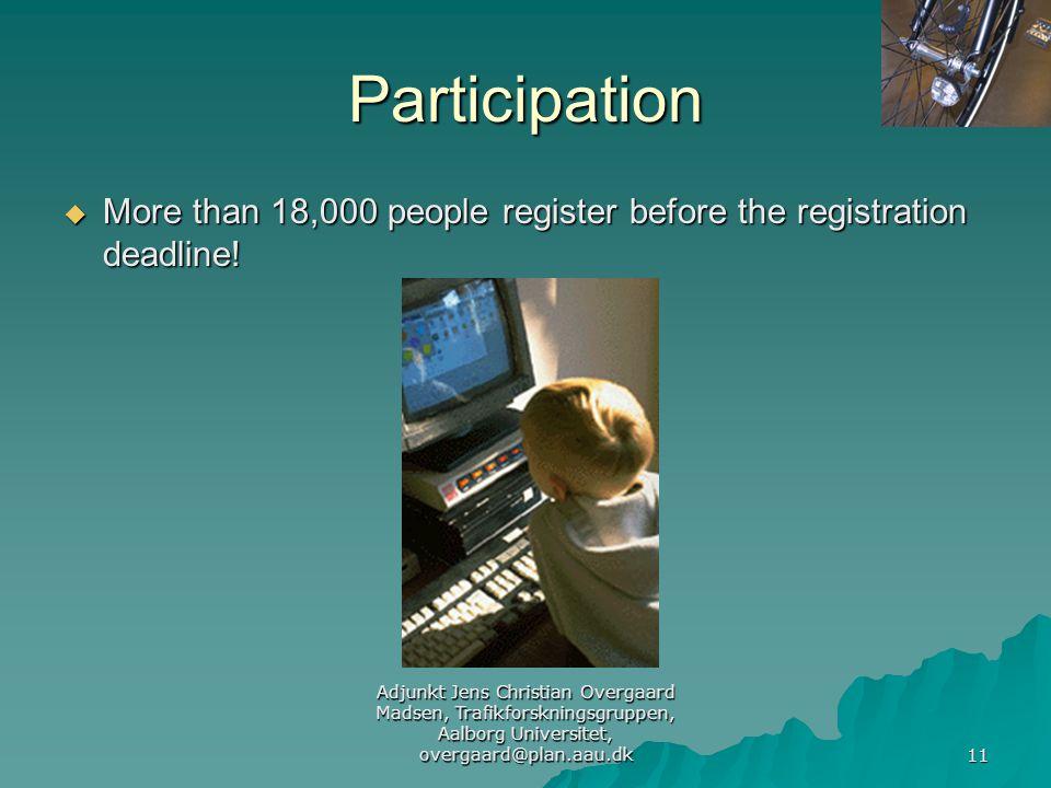 Adjunkt Jens Christian Overgaard Madsen, Trafikforskningsgruppen, Aalborg Universitet, overgaard@plan.aau.dk 11 Participation  More than 18,000 people register before the registration deadline!