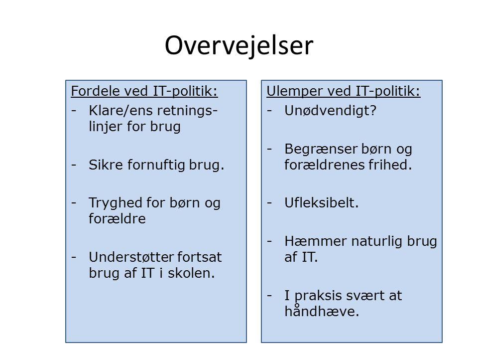 Overvejelser Fordele ved IT-politik: -Klare/ens retnings- linjer for brug -Sikre fornuftig brug.