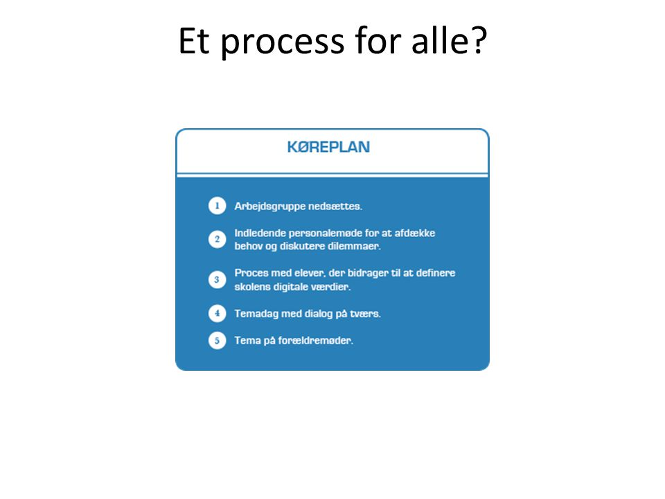 Et process for alle