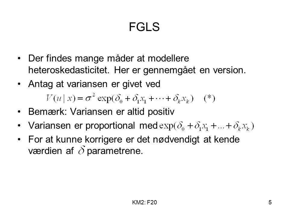 KM2: F205 FGLS Der findes mange måder at modellere heteroskedasticitet.