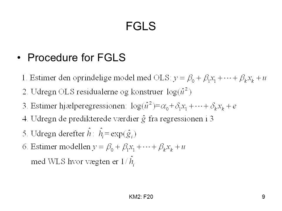 KM2: F209 FGLS Procedure for FGLS