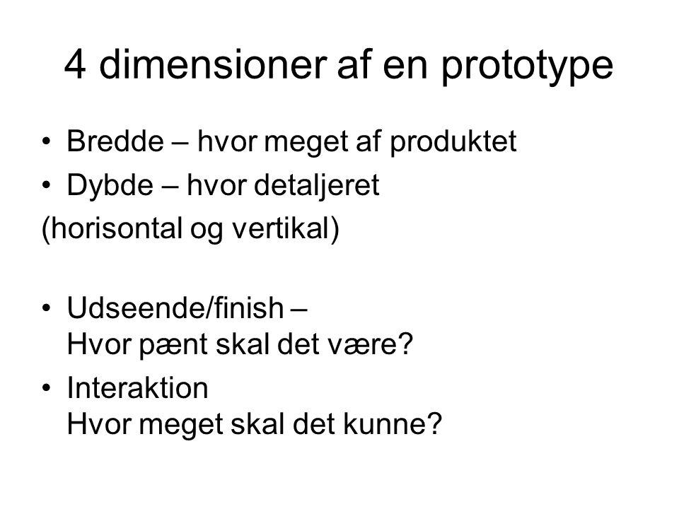 4 dimensioner af en prototype Bredde – hvor meget af produktet Dybde – hvor detaljeret (horisontal og vertikal) Udseende/finish – Hvor pænt skal det være.