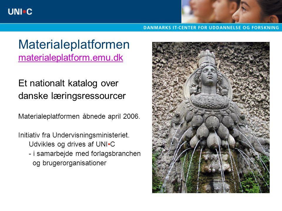 Materialeplatformen materialeplatform.emu.dk materialeplatform.emu.dk Et nationalt katalog over danske læringsressourcer Materialeplatformen åbnede april 2006.