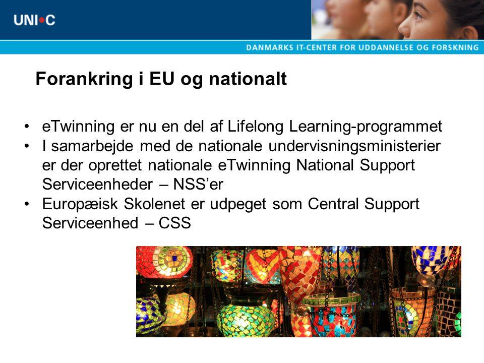 eTwinning er nu en del af Lifelong Learning-programmet I samarbejde med de nationale undervisningsministerier er der oprettet nationale eTwinning National Support Serviceenheder – NSS'er Europæisk Skolenet er udpeget som Central Support Serviceenhed – CSS Forankring i EU og nationalt