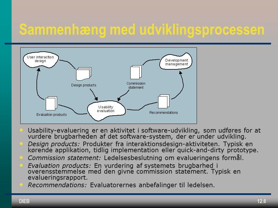 DIEB12.6 Sammenhæng med udviklingsprocessen Usability-evaluering er en aktivitet i software-udvikling, som udføres for at vurdere brugbarheden af det software-system, der er under udvikling.