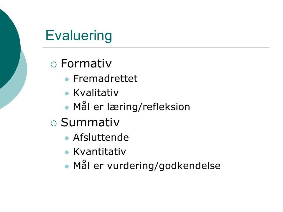 Evaluering  Formativ Fremadrettet Kvalitativ Mål er læring/refleksion  Summativ Afsluttende Kvantitativ Mål er vurdering/godkendelse