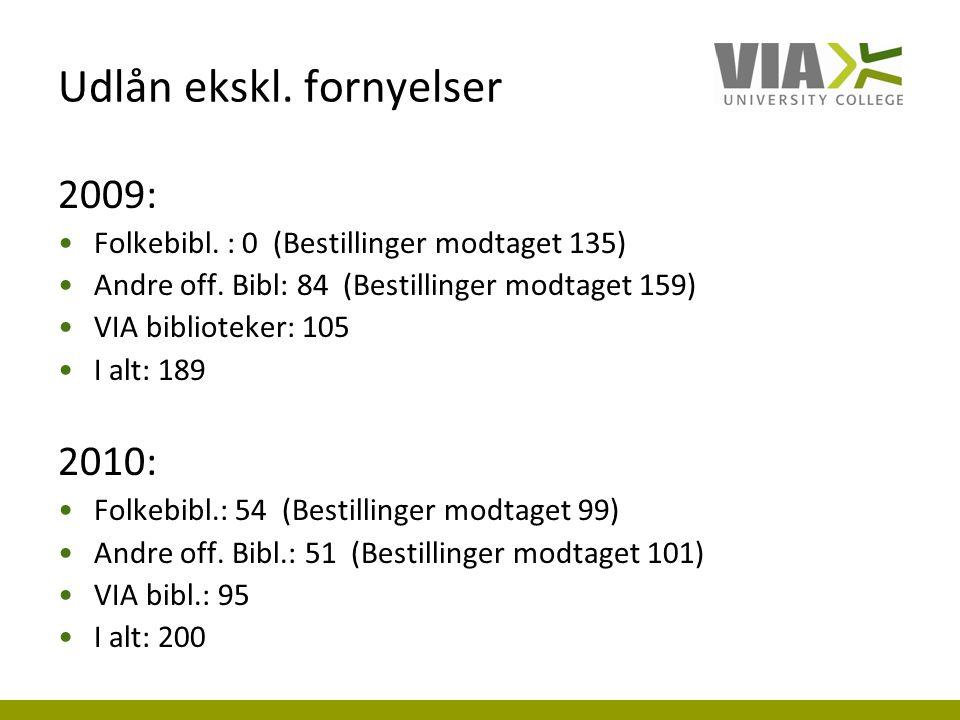 Udlån ekskl. fornyelser 2009: Folkebibl. : 0 (Bestillinger modtaget 135) Andre off.