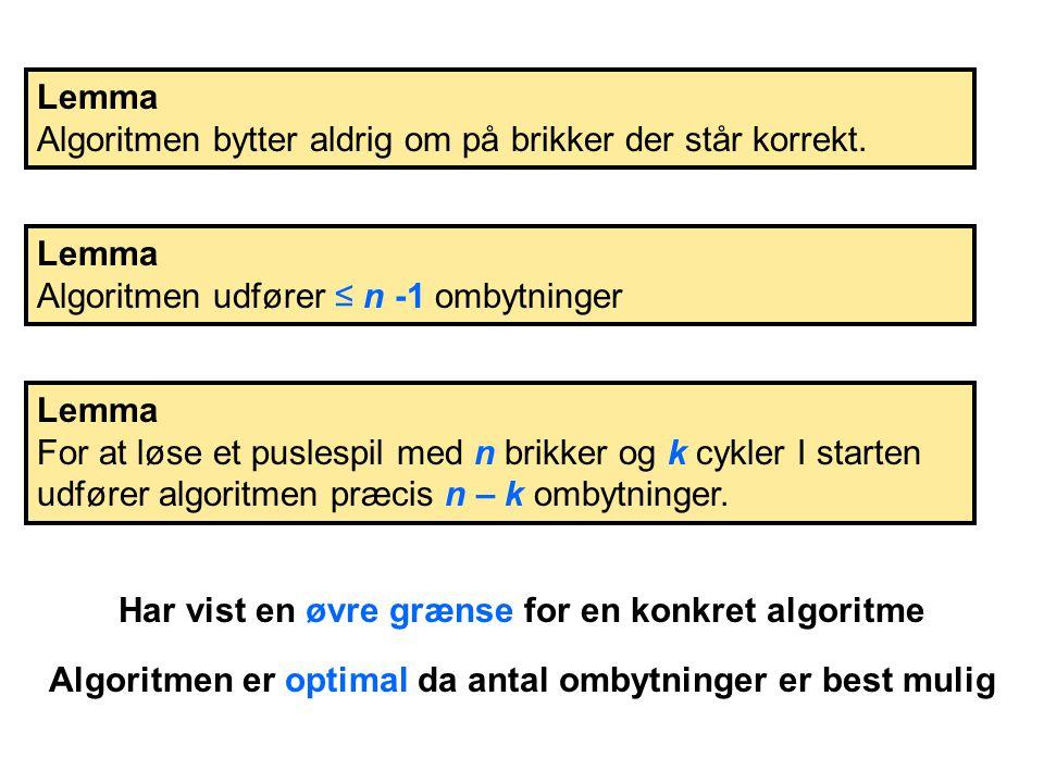 Lemma Algoritmen bytter aldrig om på brikker der står korrekt.