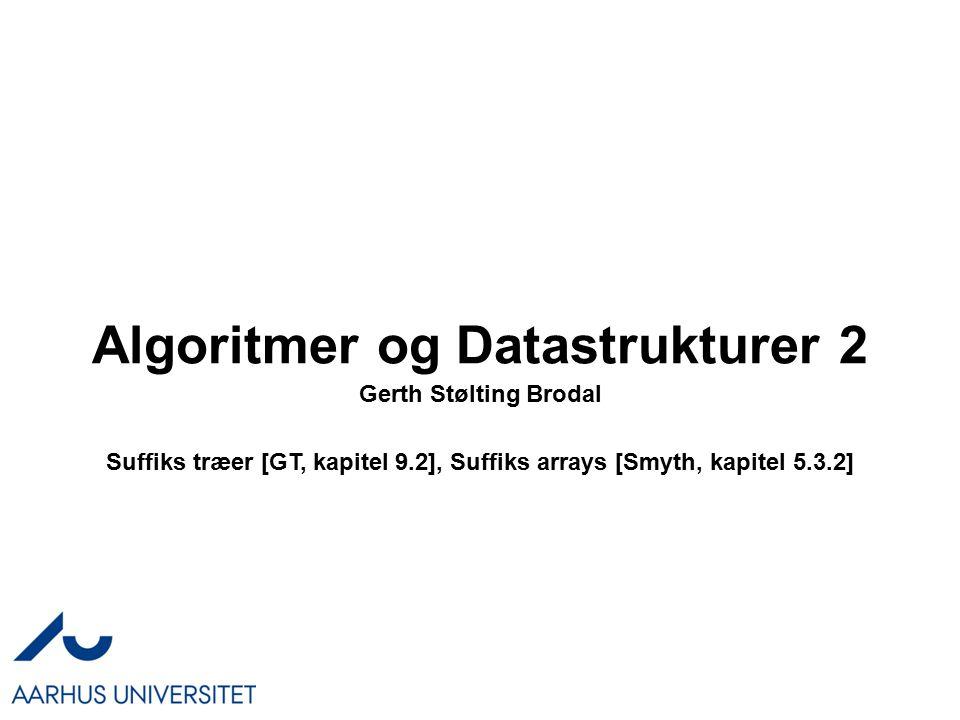 Algoritmer og Datastrukturer 2 Gerth Stølting Brodal Suffiks træer [GT, kapitel 9.2], Suffiks arrays [Smyth, kapitel 5.3.2]