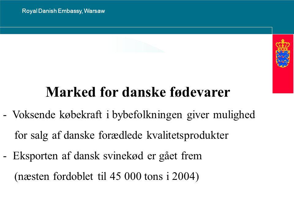 Royal Danish Embassy, Warsaw Marked for danske fødevarer - Voksende købekraft i bybefolkningen giver mulighed for salg af danske forædlede kvalitetsprodukter - Eksporten af dansk svinekød er gået frem (næsten fordoblet til 45 000 tons i 2004)