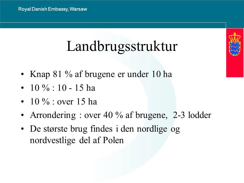 Royal Danish Embassy, Warsaw Landbrugsstruktur Knap 81 % af brugene er under 10 ha 10 % : 10 - 15 ha 10 % : over 15 ha Arrondering : over 40 % af brugene, 2-3 lodder De største brug findes i den nordlige og nordvestlige del af Polen