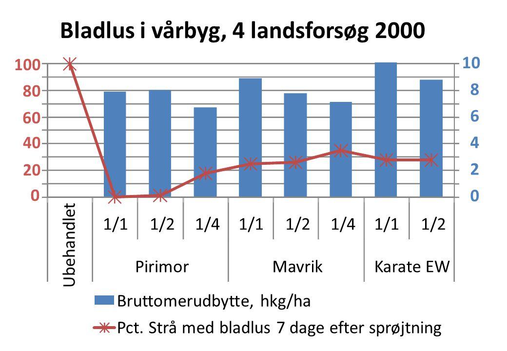 0 2 4 6 8 10 1/11/21/41/11/21/41/11/2 Ubehandlet PirimorMavrikKarate EW Bladlus i vårbyg, 4 landsforsøg 2000 Bruttomerudbytte, hkg/ha Pct.