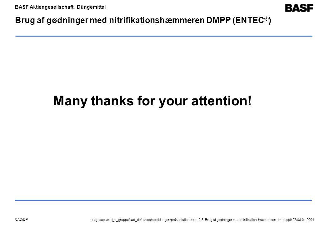 BASF Aktiengesellschaft, Düngemittel CAD/DP Brug af gødninger med nitrifikationshæmmeren DMPP (ENTEC ® ) Many thanks for your attention.