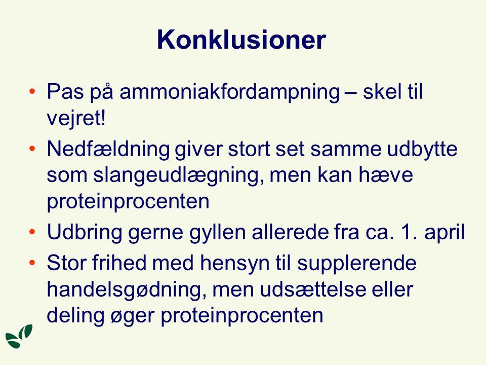 Konklusioner Pas på ammoniakfordampning – skel til vejret.