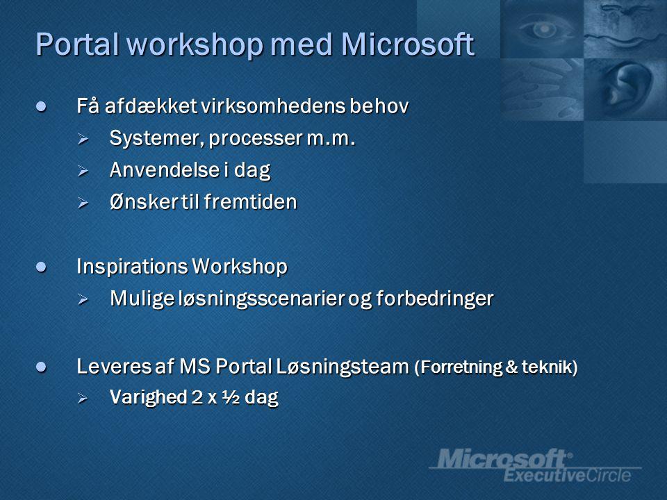 Portal workshop med Microsoft Få afdækket virksomhedens behov Få afdækket virksomhedens behov  Systemer, processer m.m.