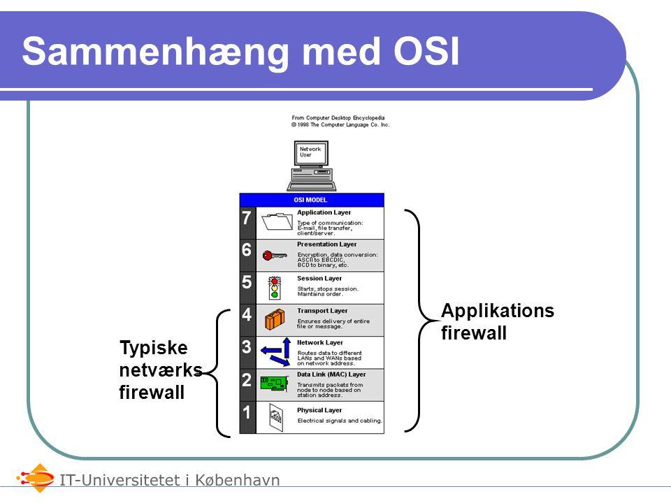 Sammenhæng med OSI Typiske netværks firewall Applikations firewall