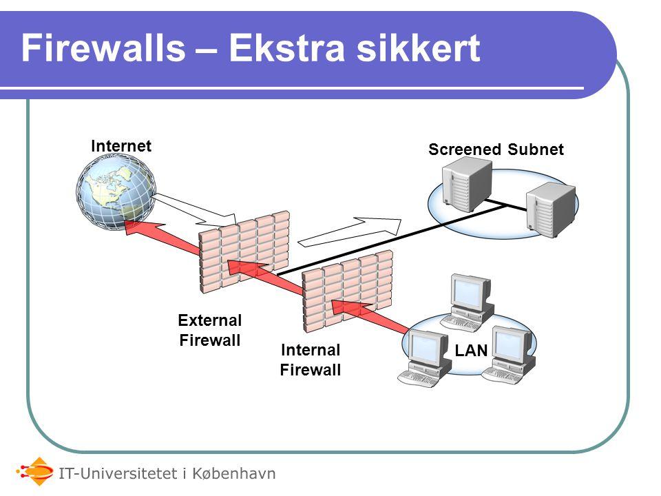 Firewalls – Ekstra sikkert Internet External Firewall LAN Internal Firewall Screened Subnet