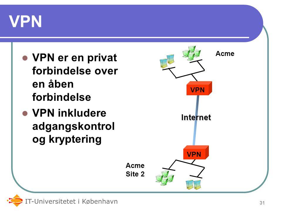 VPN VPN er en privat forbindelse over en åben forbindelse VPN inkludere adgangskontrol og kryptering 31 VPN Internet Acme Site 2