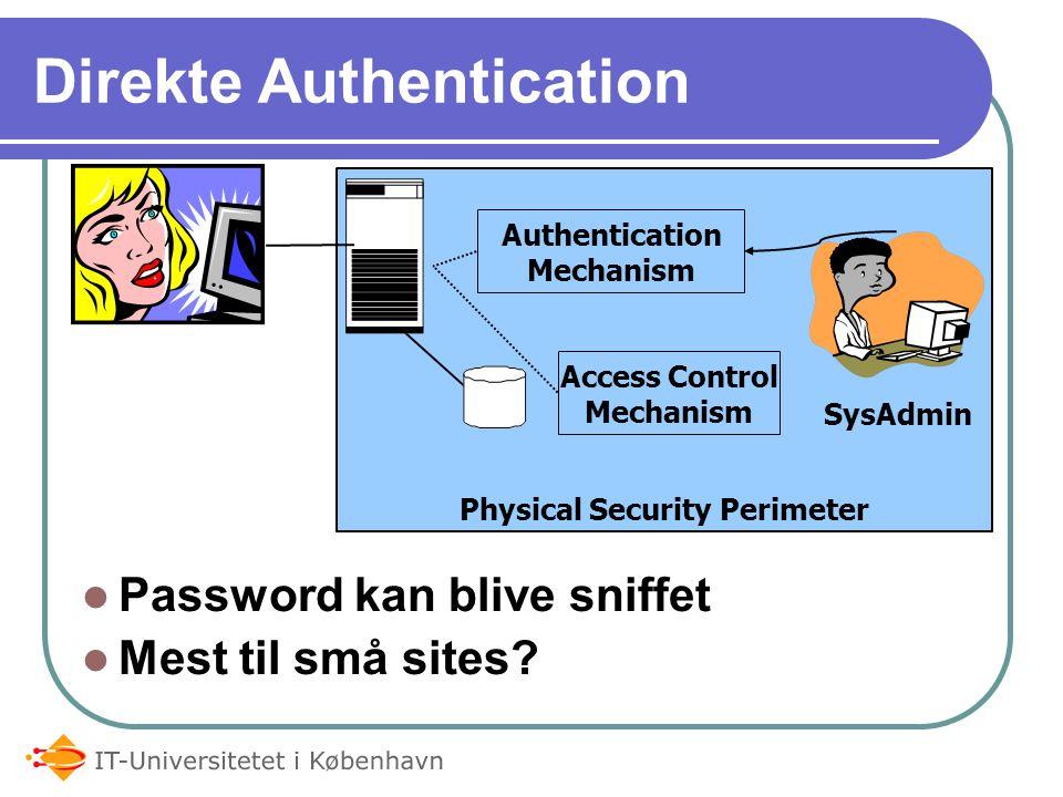 Physical Security Perimeter Direkte Authentication Password kan blive sniffet Mest til små sites.