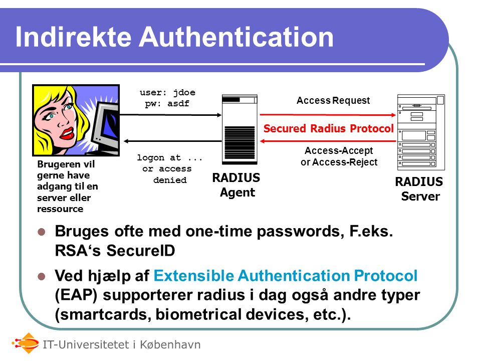 Indirekte Authentication Bruges ofte med one-time passwords, F.eks.