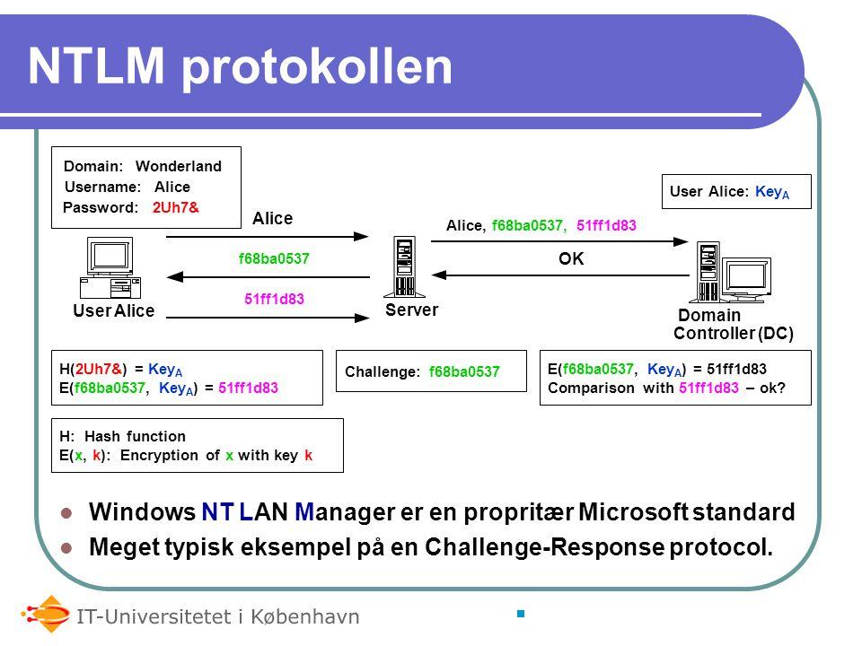 NTLM protokollen Windows NT LAN Manager er en propritær Microsoft standard Meget typisk eksempel på en Challenge-Response protocol.