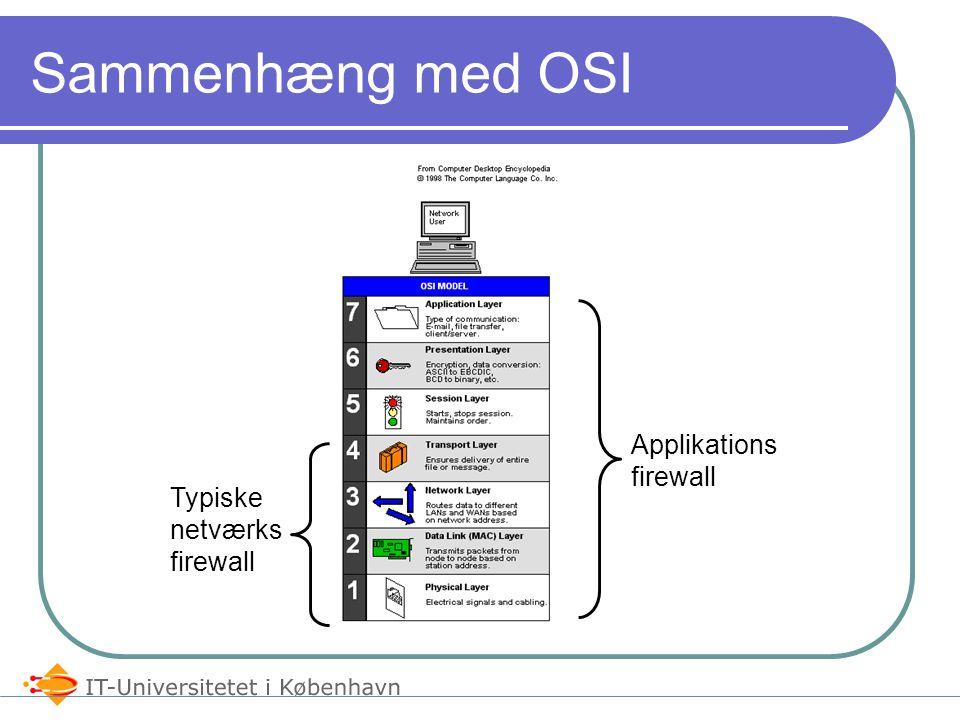 Forskellige typer firewall's Packet Filtering Stateful Inspection Application-Layer Internet