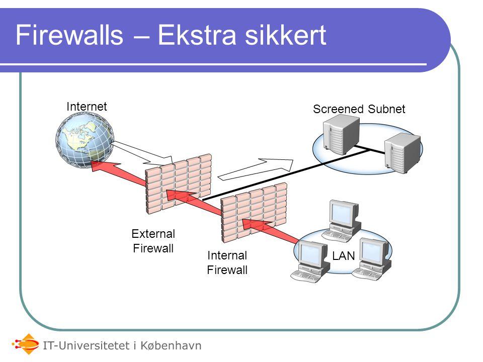 Content scanner Typisk ikke stand-alone firewall men i sammenhæng med firewall (ICAP) Højere end application layer Tjekker for data i f.eks.