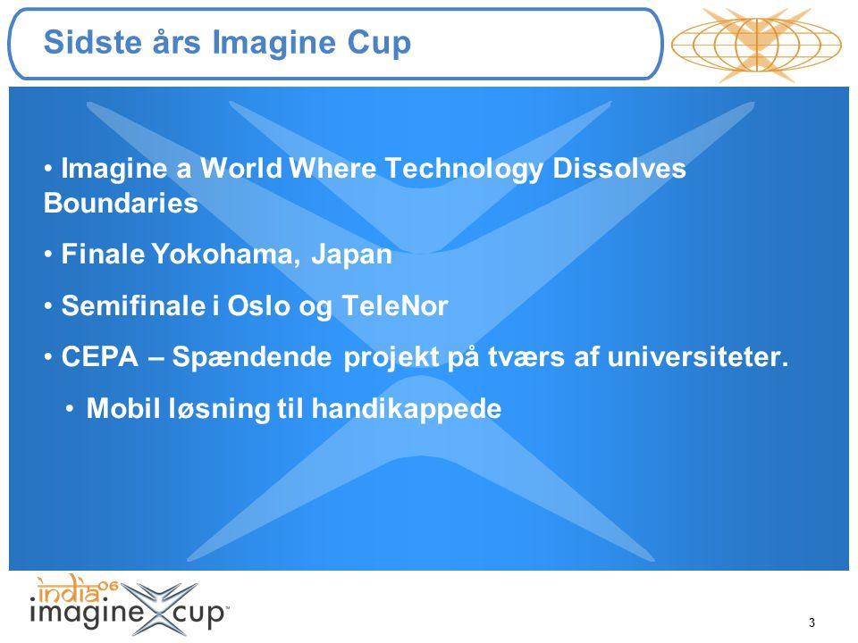 3 Sidste års Imagine Cup Imagine a World Where Technology Dissolves Boundaries Finale Yokohama, Japan Semifinale i Oslo og TeleNor CEPA – Spændende projekt på tværs af universiteter.