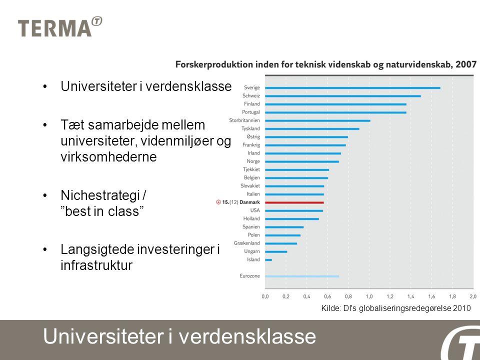 Universiteter i verdensklasse Tæt samarbejde mellem universiteter, videnmiljøer og virksomhederne Nichestrategi / best in class Langsigtede investeringer i infrastruktur Kilde: DI s globaliseringsredegørelse 2010