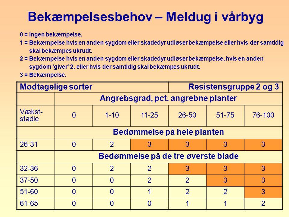 Bekæmpelsesbehov – Meldug i vårbyg Assessment again in 7 days, if no treatment - 14 days if treatment.