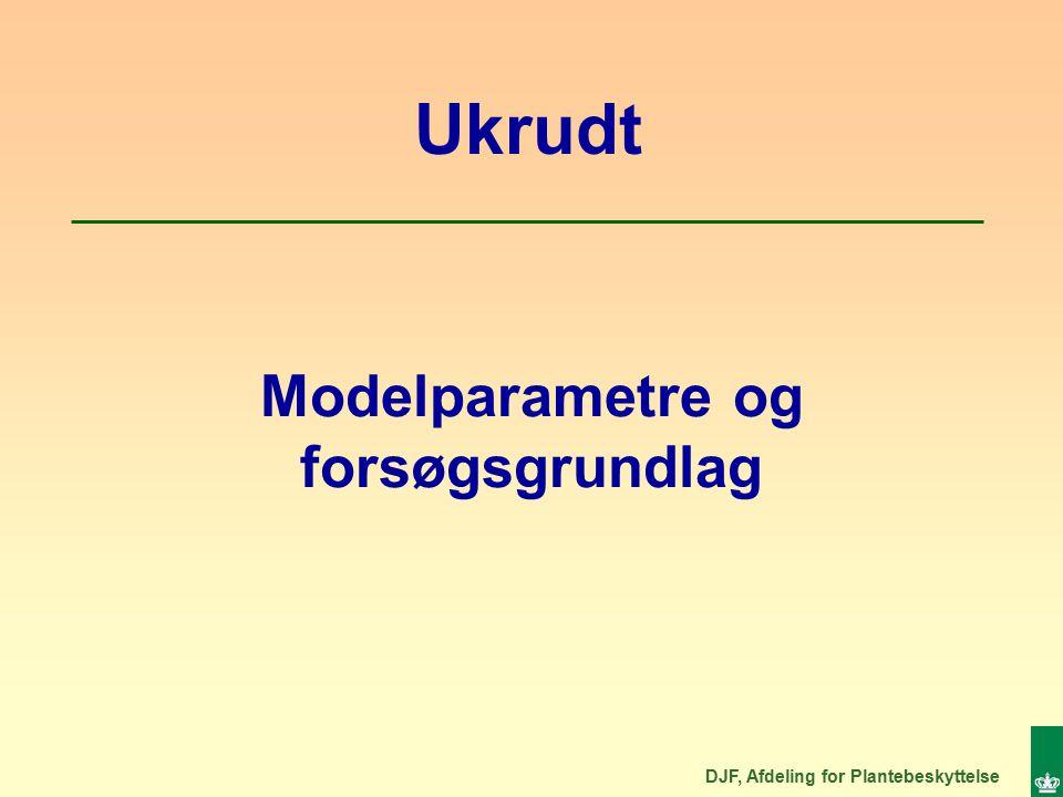 DJF, Afdeling for Plantebeskyttelse Modelparametre og forsøgsgrundlag Ukrudt