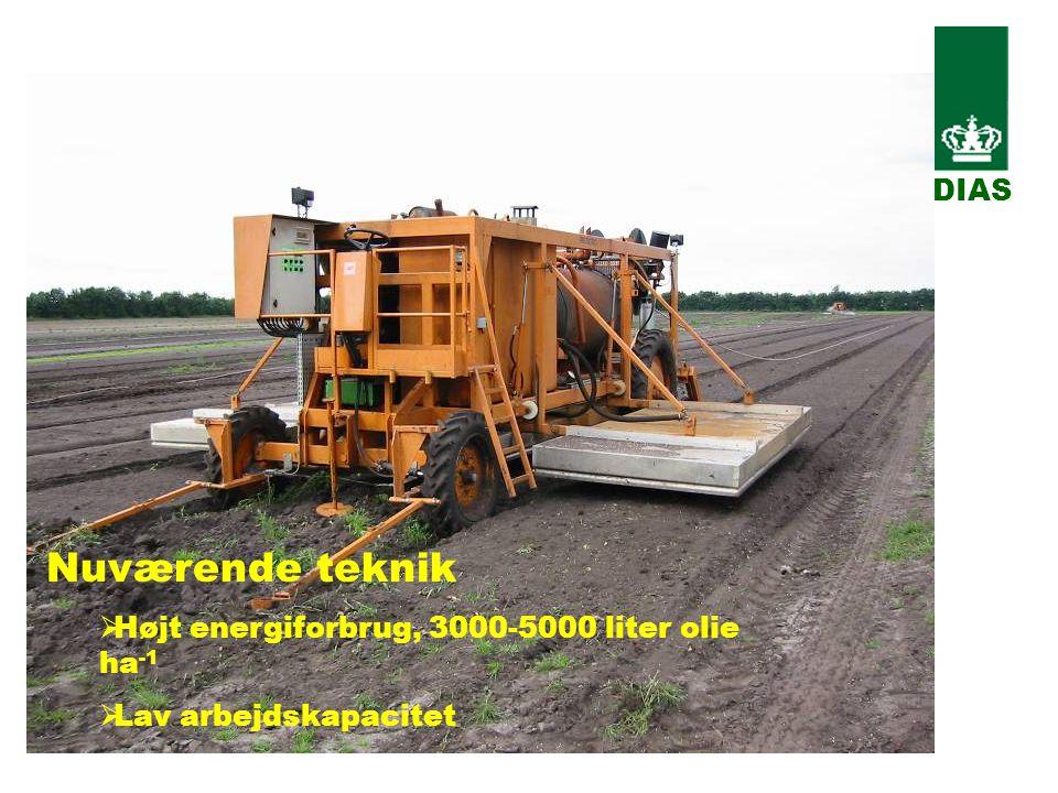 Nuværende teknik  Højt energiforbrug, 3000-5000 liter olie ha -1  Lav arbejdskapacitet