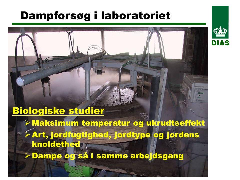 Dampforsøg i laboratoriet DIAS Biologiske studier  Maksimum temperatur og ukrudtseffekt  Art, jordfugtighed, jordtype og jordens knoldethed  Dampe og så i samme arbejdsgang